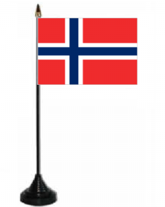 Norway Desk / Table Flag with plastic stand and base.